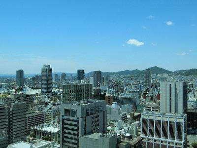 神戸市役所展望ロビーから西方面(ハーバーランド・須磨)の眺望