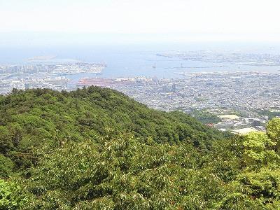 天覧台から南方面の眺め:六甲アイランドとポートアイランド・神戸空港島