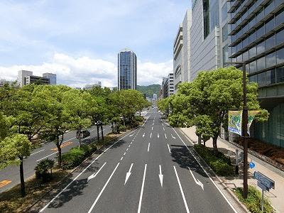 フラワーロード(新神戸停車場線)は三宮都心部の南北の幹線道路
